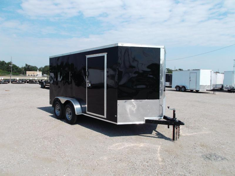 """2019 Covered Wagon Trailers 7x14 Tandem Axle Cargo Trailer / Enclosed Trailer / Ramp / 6'6"""" Interior Height / RV Side Door / LEDs"""