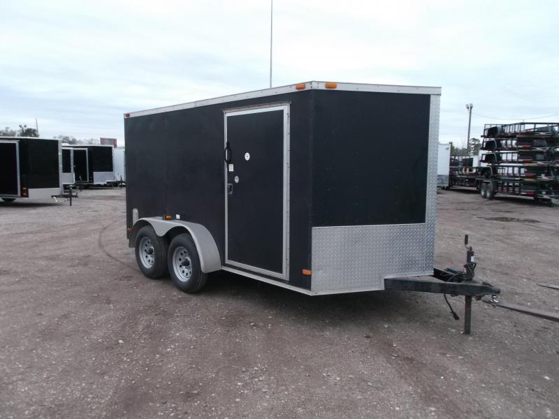 2014 Covered Wagon Trailers 7x12 Semi Low Hauler Motorcycle Trailer / Cargo Trailer / Ramp / RV Door / NEW Tires