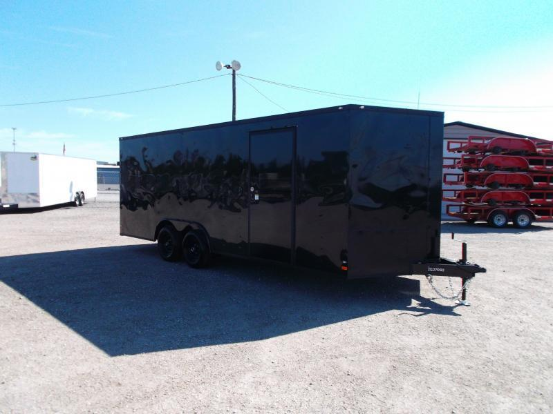 2019 Covered Wagon Trailers 8.5x20 Blacked Out Tandem Axle Cargo / Enclosed Trailer / Car Hauler / 3500# Axles / Ramp / RV Door / LEDs