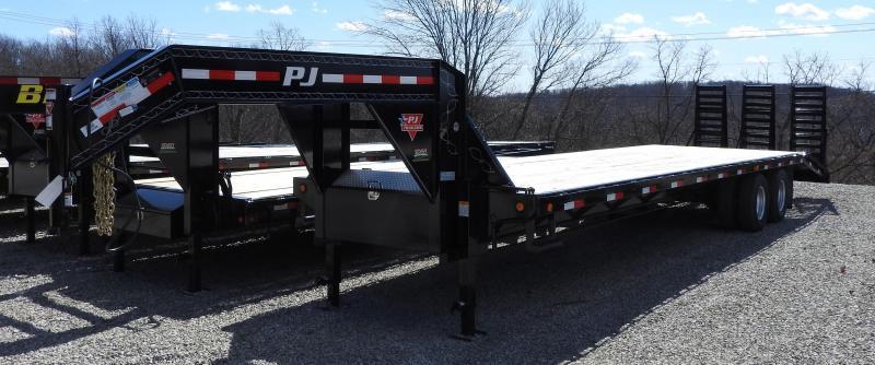 2015 PJ FD 32' Flatbed Trailer 3 Flip Over Ramps