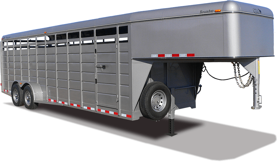 CM Trailers Roundup 24′ X 6'8″ X 6'6″ w/ 2-7000# axles, 16″ radial tires & 8-hole wheels