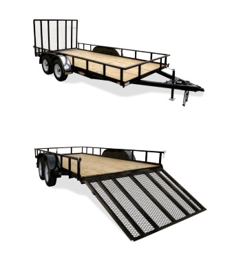 2018 H and H Trailer 8.5X16 STEEL RAIL SIDE TANDEM 7K