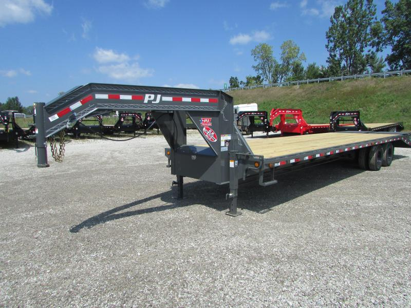 2019 PJ Trailers 32 ft Monster Ramps Gooseneck Flatbed Trailer