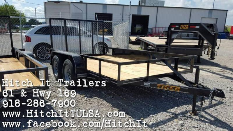 Tiger 77 X 12 Charcoal Tandem Axle Utility Trailer w/ Ramp Gate 3500 lb axles