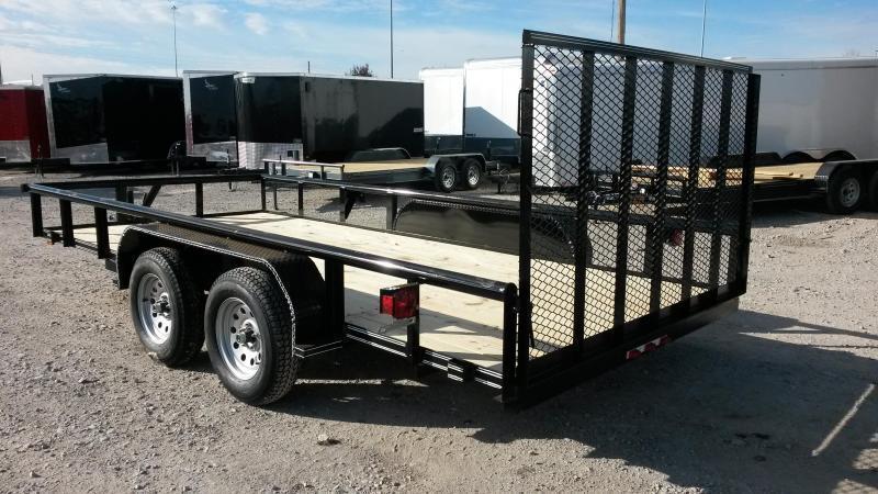 Black 77x16 Pipetop Utility Trailer w/ Ramp Gate Bulldog and Brakes