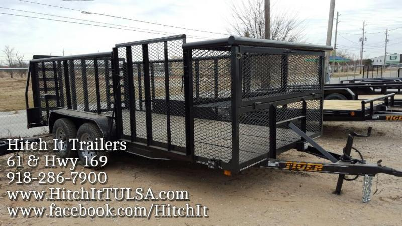 2017 Tiger 83 x 16 Landscape Trailer w/ HD TRACTOR Gate & Side Gate.