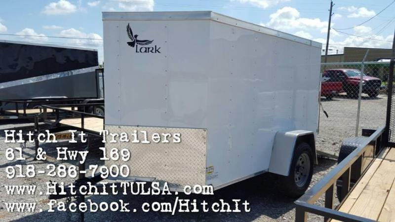 2017 Lark 5 x 8 V-nose WHITE Enclosed Cargo Trailer