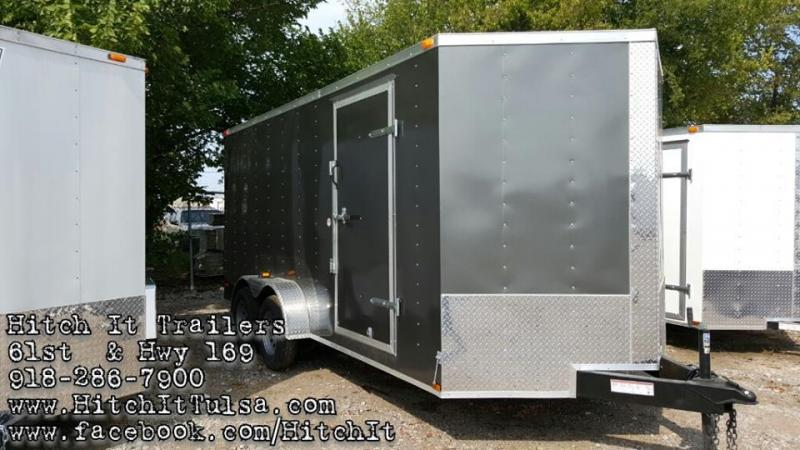 Lark CHARCOAL 7x16 V-nose Enclosed Cargo Trailer Rear Ramp