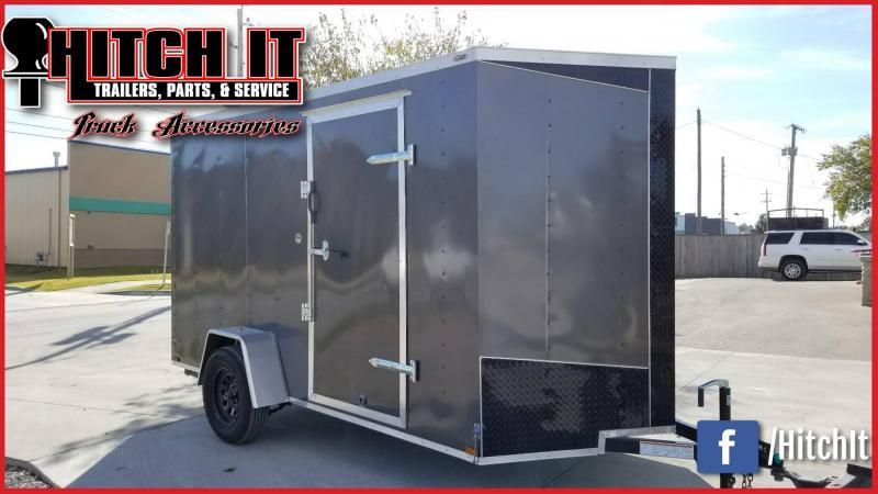 2018 Lark 6x12 plus V-nose Charcoal Cargo Enclosed Trailer