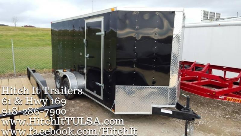 7 x 16 plus V-nose White Enclosed Cargo Trailer LEDS Radials