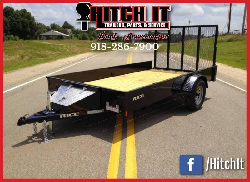 RICE 76 X 12 STEALTH Utility Trailer POWDER COATED Black Out Package Slvr Wheels
