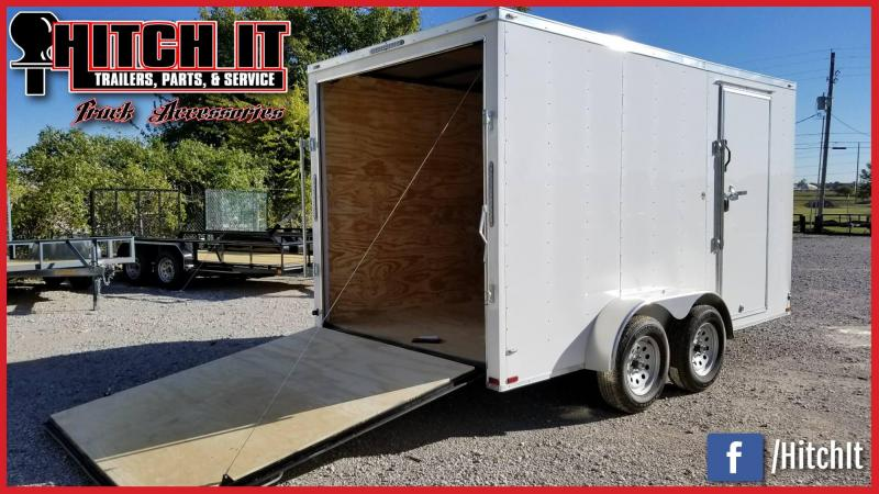 Lark 7x14 +V-nose Enclosed Cargo Trailer Rear Ramp Extra tall
