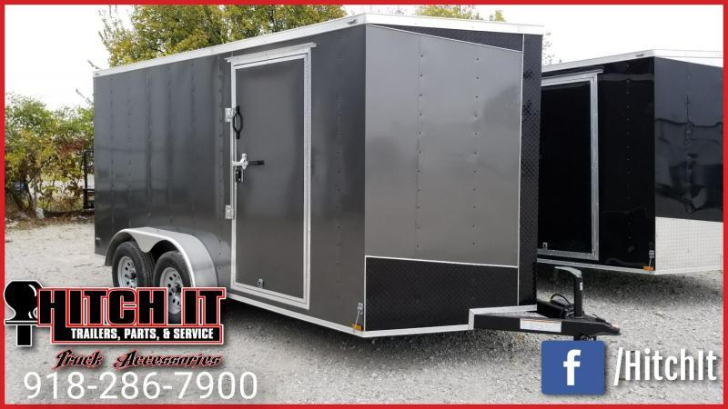Lark CHARCOAL 7x14 + V-nose Enclosed Cargo Trailer Rear Ramp