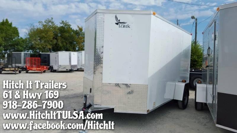 2017 Lark 6x12 v-nose ramp WHITE Cargo / Enclosed Trailer