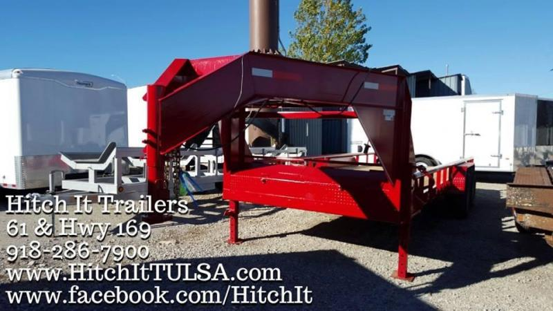 PRICE REDUCED! 83x20 Lowboy Gooseneck Trailer RED WITH RAILS