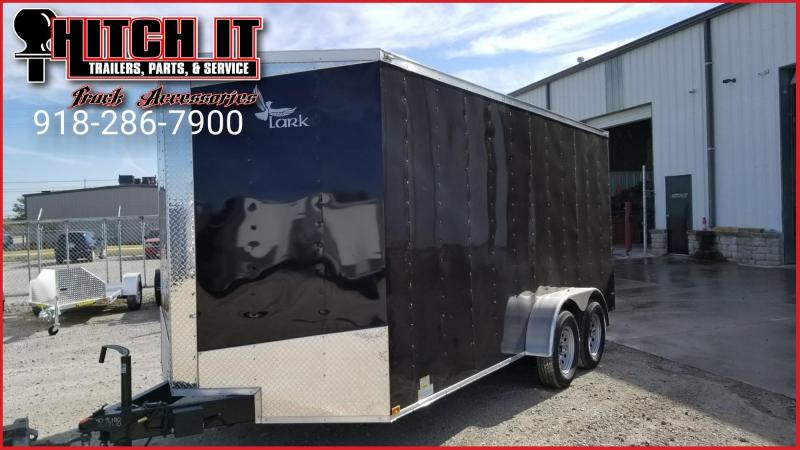 7 x 16 + V-nose Enclosed Cargo Trailer Extra Tall Ramp