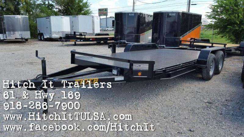 TIGER 83 x 18 Steel Floor Flatbed Car Hauler Trailer with brakes