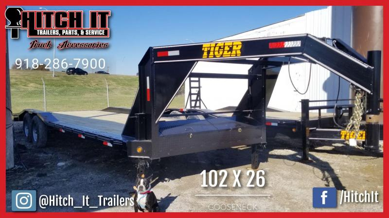 2019 Tiger 102 x 26 Gooseneck Trailer with Drive over Fenders Equipment Trailer 23 + 3