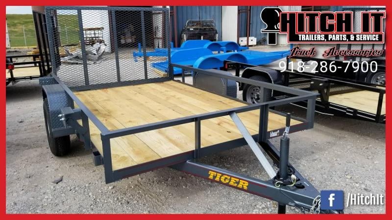 Charcoal 5 x 10 Black Utility Trailer w ramp full wrap tongue
