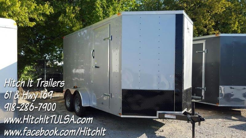 New 7x16 V-nose Enclosed Cargo Trailer Rear Ramp Extra Height LED's Radials