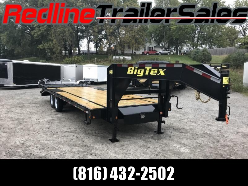 "2018 Big Tex 14GN 102"" X 20' + 5' Flatbed Trailer *15900K GVWR* - MEGA RAMPS"