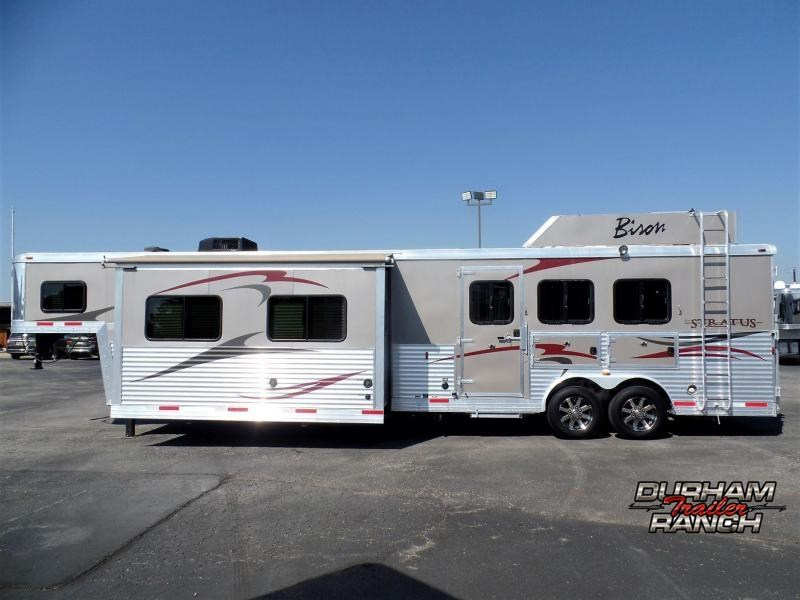 2013 Bison Stratus 3H w/ 17' SW & 12' Electric Slide Horse Trailer