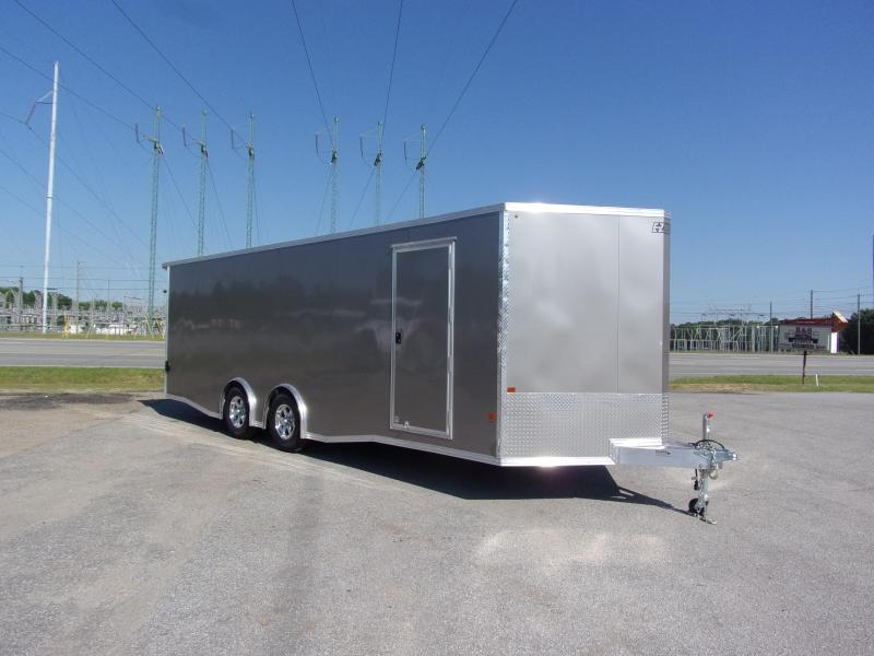 2019 Mission 8.5x24 Pewter spread axle ramp door Elite Ecsape door Enclosed Cargo Trailer