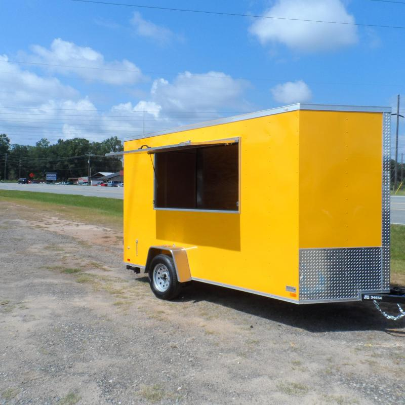 2018 Covered Wagon Trailers 6x12 7' 3x6 Window Yellow Enclosed Cargo Concesion