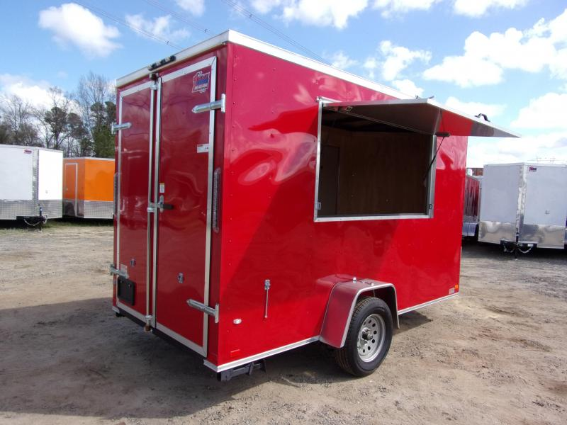 2018 Covered Wagon Trailers 6x12 7' 3x6 Window  Red vending Enclosed Cargo Concesion