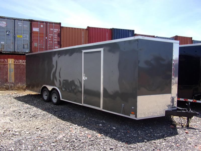 2019 Covered Wagon Trailers 8.5x24 Charcoal ramp door Enclosed Cargo