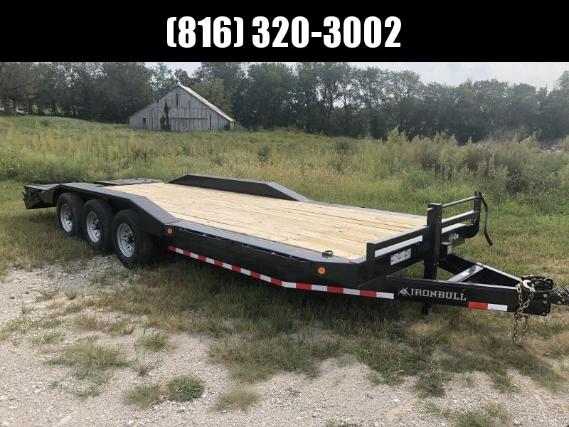 2020 IRON BULL 102X24 TRIPLE AXLE EQUIPMENT HAULER TRAILER W/DRIVE OVER FENDERS