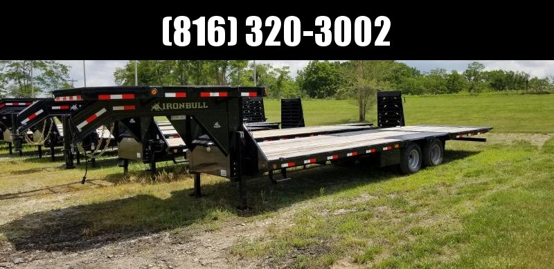 2019 IRON BULL 102X30 GOOSENECK LOPRO DECKOVER FLAT BED TRAILER WITH HYDRAULIC DOVE TAIL AND JACKS