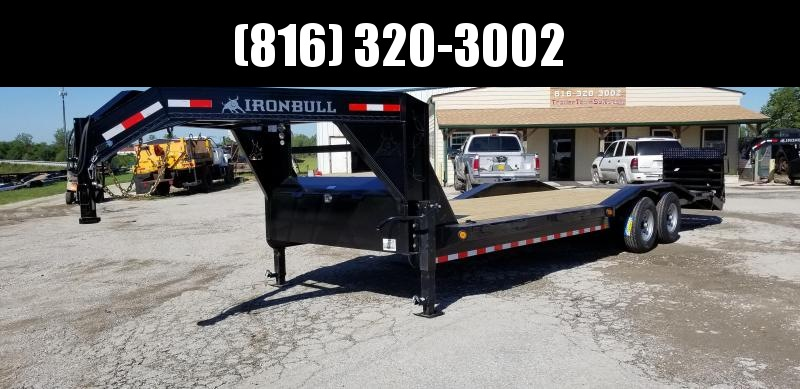 2020 IRON BULL 102 X 26 GOOSENECK DRIVE OVER FENDERS EQUIPMENT HAULER TRAILER