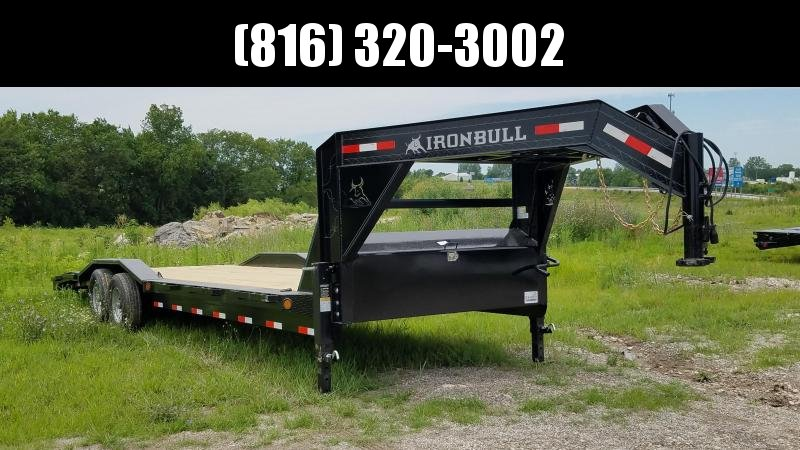2019 IRON BULL 102 X 28 GOOSENECK EQUIPMENT TRAILER WITH DRIVE OVER FENDERS