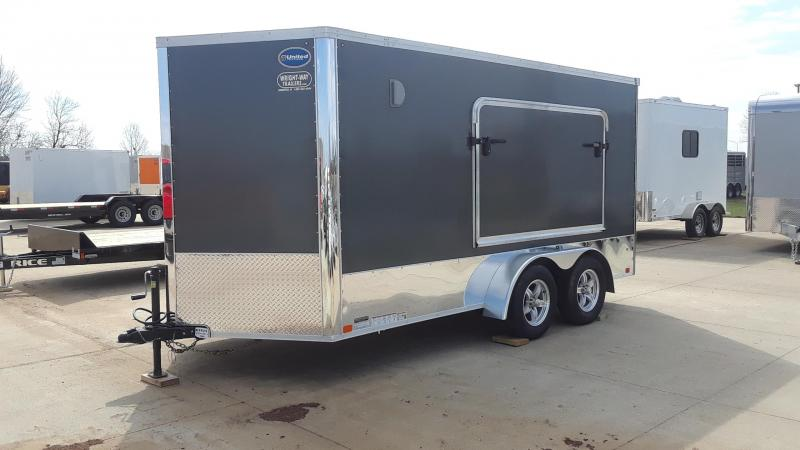 2020 United 7X14 Motorcycle Trailer Tent Door Bed