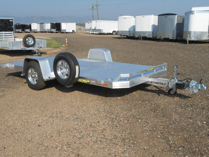 2019 Aluma 8214HS-TILT All Aluminum Tilt Deck Single Axle Car / Racing Trailer