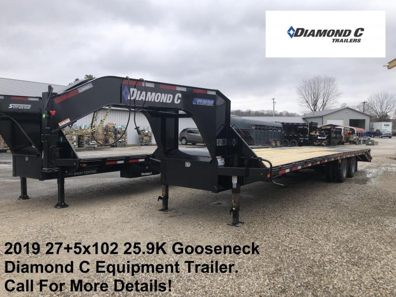 2019 27+5x102 25.9K Diamond C Engineer Beam Gooseneck Equipment Trailer. 11894