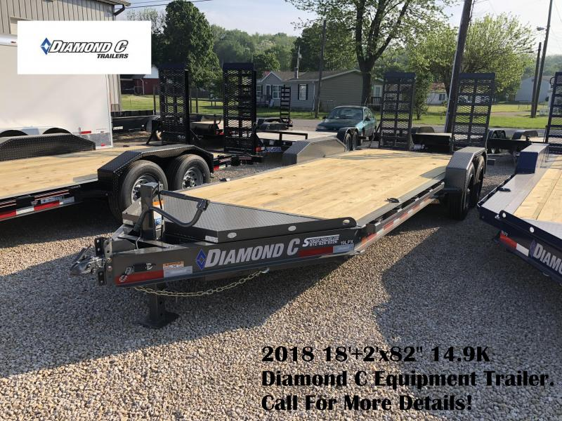 "2018 18'+2'x82"" 14.9K Diamond C Equipment Trailer. 00833"