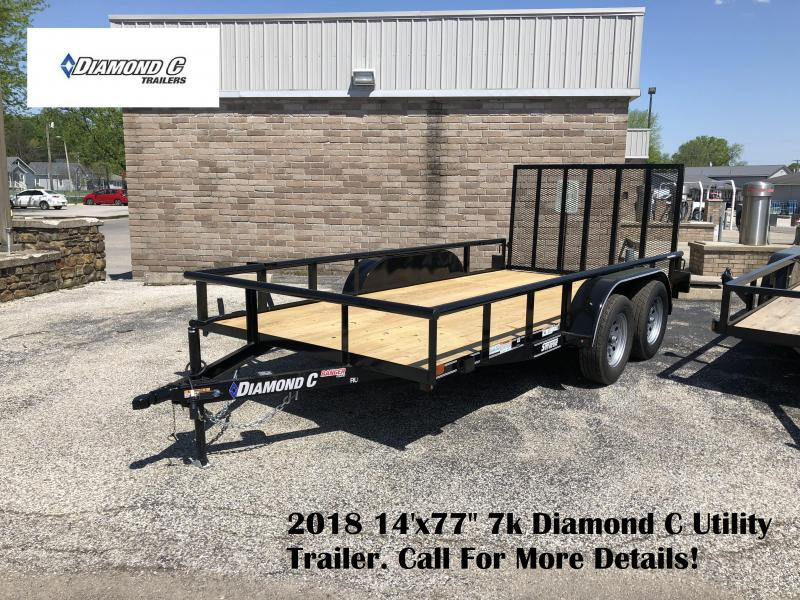 "2018 14'x77"" 7k Diamond C Utility Trailer. 01216"