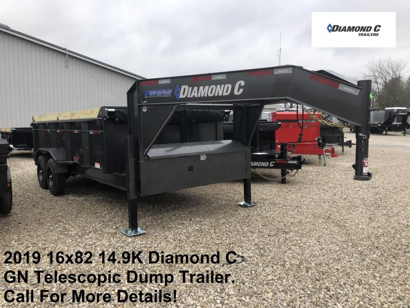 2019 16x82 14.9K Diamond C GN Telescopic Dump Trailer. 12597