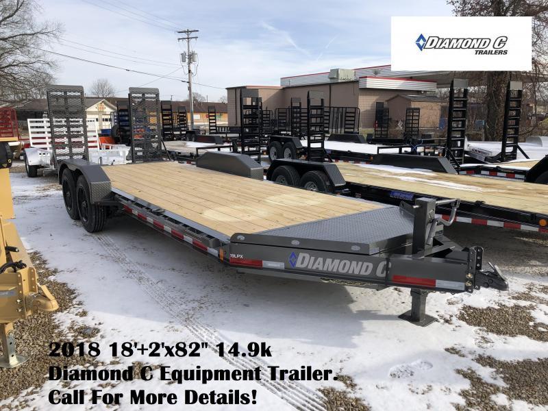 "2018 18'+2'x82"" 14.9k Diamond C Equipment Trailer. 96967"