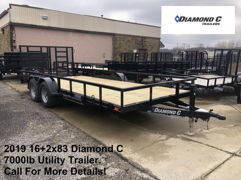 2019 16+2x83 7K Diamond C Utility Trailer. 10065