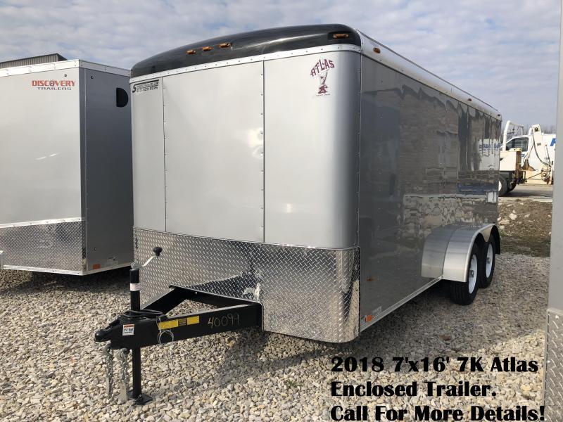 2018 7'x16' 7K Atlas Enclosed Trailer. 40099