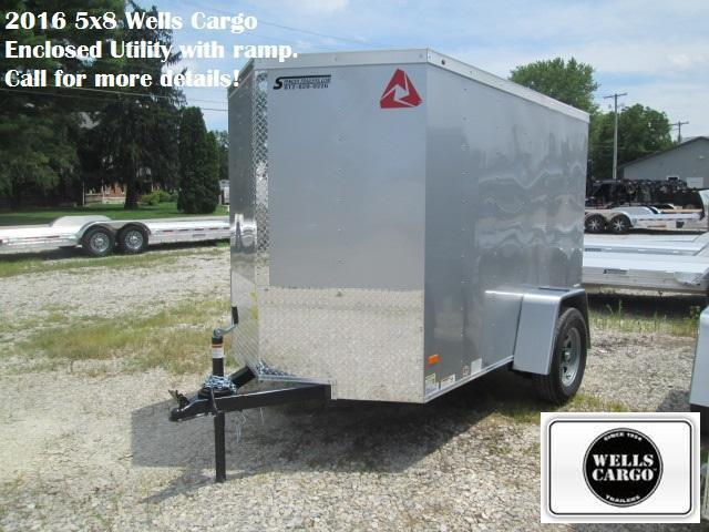 2016 5x8 Wells Cargo Enclosed Utility with ramp (silver). 27238