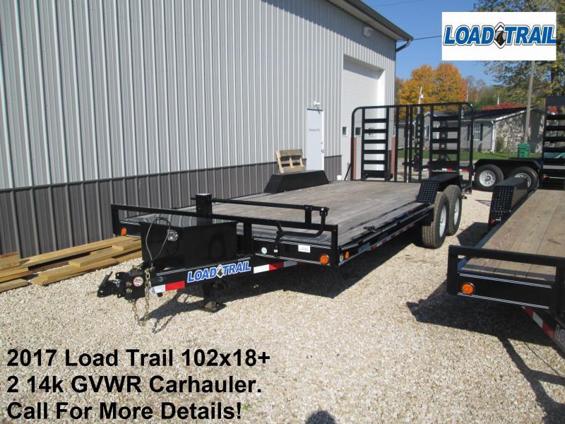 "2017 102"" x 18'+2' Load Trail 14k GVWR Carhauler. 44342"