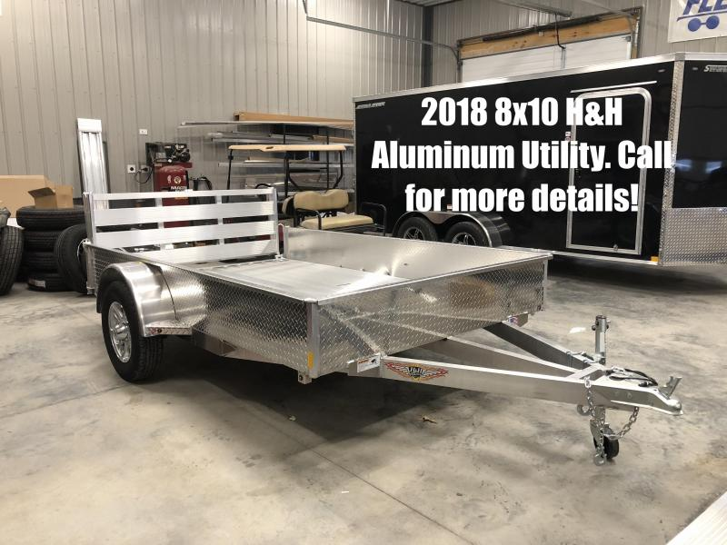 2018 8x10 H&H Aluminum Utility Trailer. 03720