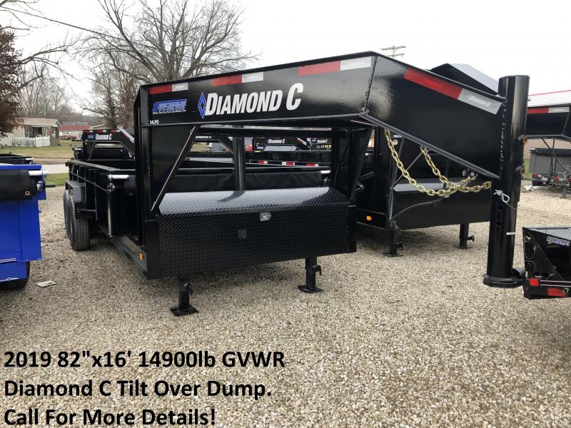 "2019 82""x16' 14900lb GVWR Diamond C Tilt Over Dump. 06566"