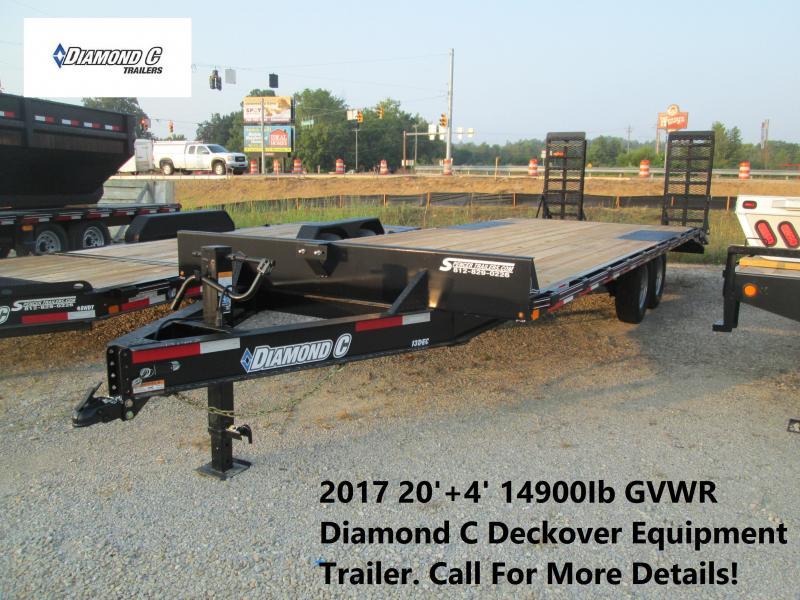 2017 20'+4' 14900Ib GVWR Diamond C Deckover Equipment Trailer. 91407