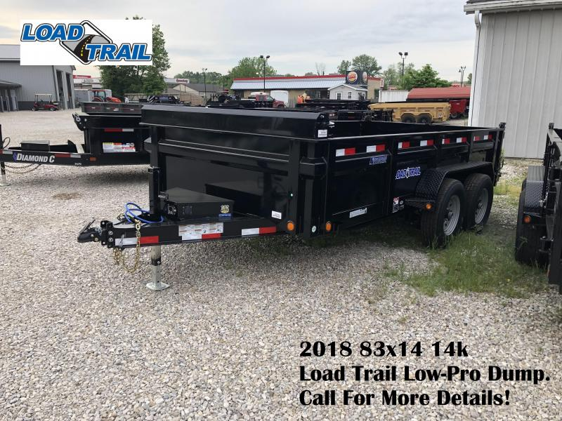 2018 83x14 14k Load Trail Low-Pro Dump with solid extensions. 62539
