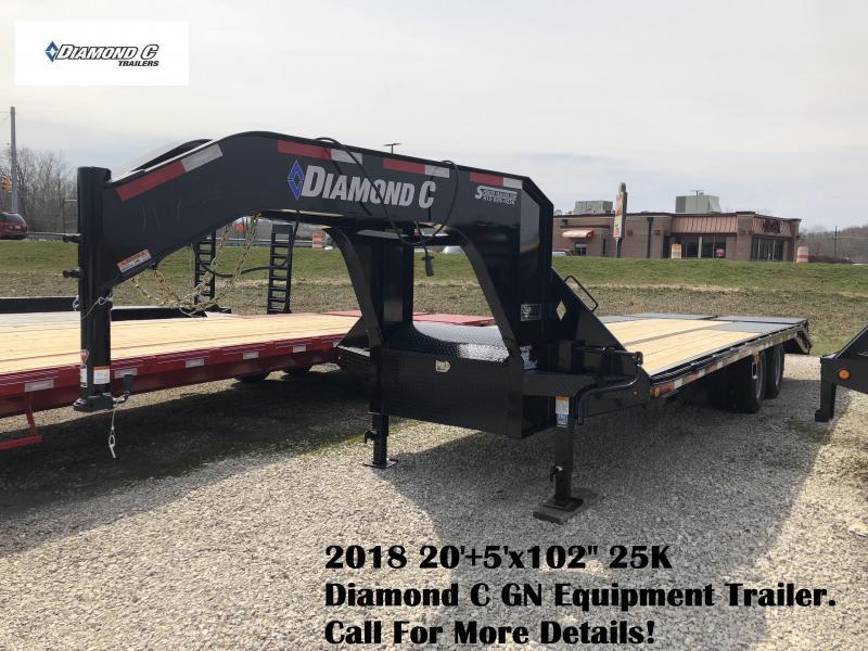 """2018 20'+5'x102"""" 25K Diamond C GN Equipment Trailer. 97035"""